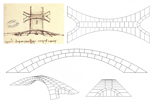 Leonardo's sketch along with sdrawings by the MIT team