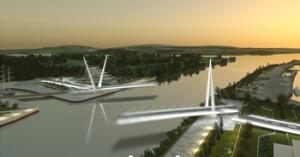 Swing bridge over the River Clyde