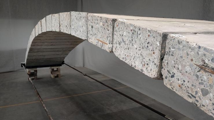 Recycled concrete footbridge, EPFL Switzerland