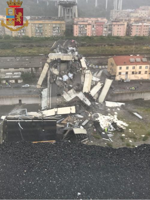 Genoa collapse - photo by Italian police