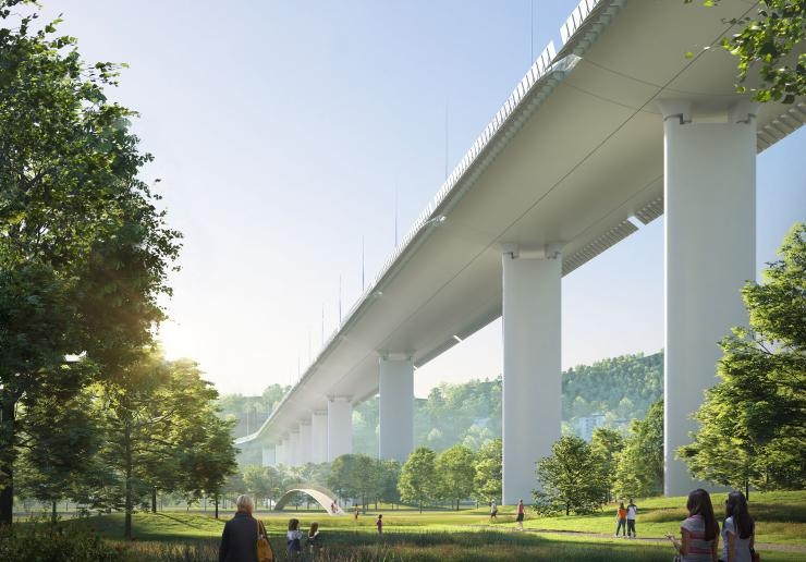 new Polcevera Bridge, design by Renzo Piano Building Workshop