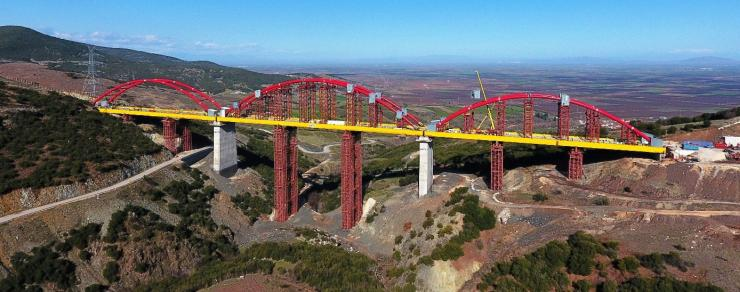 Greek high-speed railway - one of the bridges to be monitored by Osmos