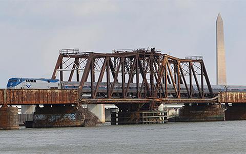 Long Bridge with an Amtrak train crossing it