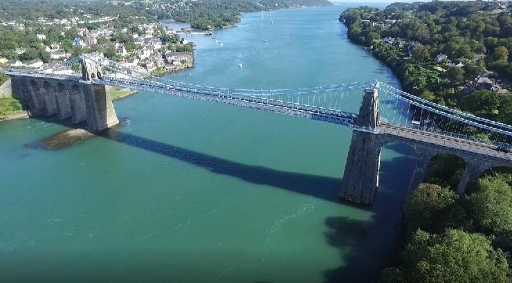 aerial view of the Menai Suspension Bridge