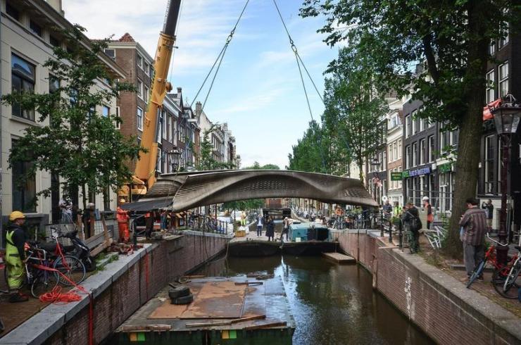 MX3D Bridge being installed