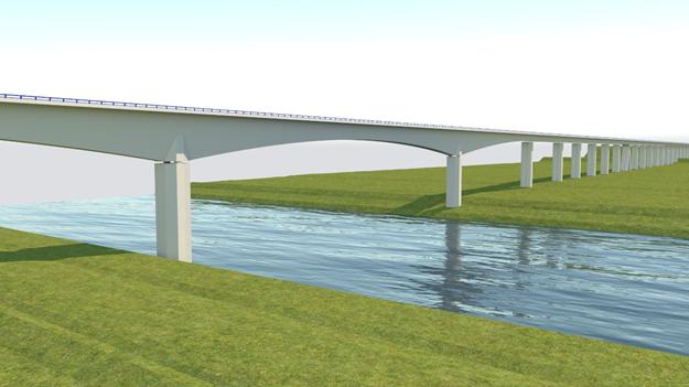 Rail Baltica bridge over the River Neris