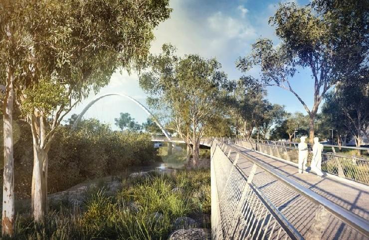 diagonal arch bridge in Parramatta